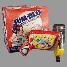 Vintage Jum-Blo Bubble Blowing Tin Machine Gun Toy with Original Box