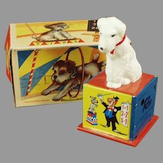 Vintage Rex the Counting Dog Tin Wind-up Toy with Graphic Box
