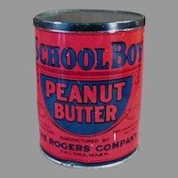 Vintage Peanut Butter Tin - School Boy, Rogers Co. Seattle and Tacoma Washington