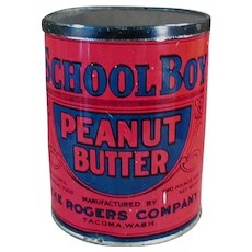 Vintage Peanut Butter Tin - School Boy, Rogers Co. Seattle and Tacoma Washington