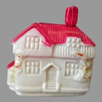 Small Vintage Celluloid House Cottage Figural Tape Measure - Made in Japan
