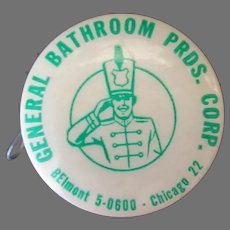 Vintage Celluloid Tape Measure – General Bathroom Advertising with Drink Recipes on the Tape