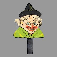 Vintage Halloween Witch Cardboard Toy Squeaker Noise Maker