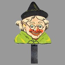 Vintage Halloween Witch Cardboard Toy Squeaker Noise Maker