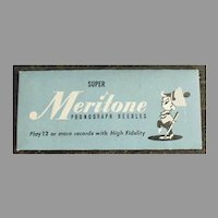 Vintage Steel Phonograph Needle Packet, Unopened - Meritone 25 for 78rpm Records