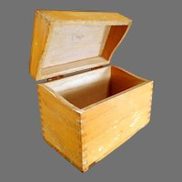 Vintage Oak File Box for Standard Index Cards for Kitchen or Office