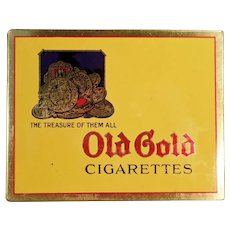 Vintage Old Gold Cigarettes Flat Tobacco Tin - Very Nice Advertising Tin