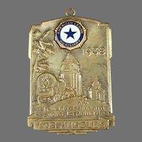 Vintage 1938 Los Angeles American Legion Auxiliary Watch Fob