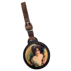 Vintage Celluloid Watch Fob & Mirror with Pretty Woman & Leather Strap