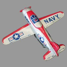 Vintage 1950's Japanese Line Mar Tin Friction Navy Airplane Toy