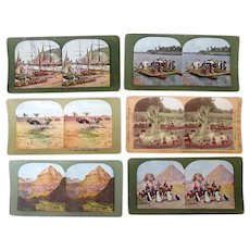 Six (6) Vintage Stereoscopic Stereo View Cards with Scenes in Color