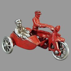 Vintage Cast Iron Toy Motorcycle Cop with Sidecar Rider - All Original