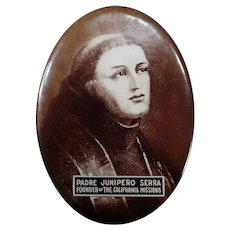 Vintage California Mission Memorabilia - Celluloid Mirror with Padre Junipero Serra