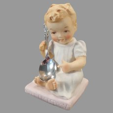 1950's Vintage Bisque Figurine - Baby's First Spoon with Chalice/Harmony Spoon