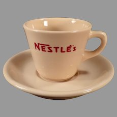 Vintage Soda Fountain Restaurant China - Nestle's Hot Chocolate Cup and Saucer Cocoa Advertising