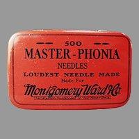 Vintage Montgomery Ward Master-Phonia Phonograph Needle Tin - Large Size