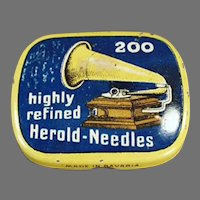 Vintage Phonograph Needle Tin - Partially Full Highly Refined Herold Tin
