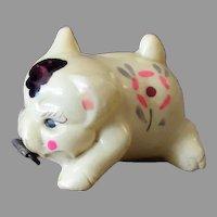 Vintage Celluloid Figural Tape Measure - Flowered Pig