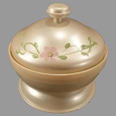 Vintage Pearlized Celluloid Powder Box - Pretty Dresser Jar with Mirror Lid