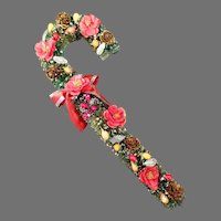 """Vintage 12"""" Bottle Brush Candy Cane - Very Embellished Christmas Decoration"""