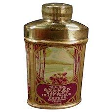 Vintage Sample Talc Tin - Small Sylvan Violet Toilet Talcum Trial Size Tin