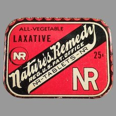 Vintage Medicine Advertising Tin - Small Nature's Remedy Laxative Tin