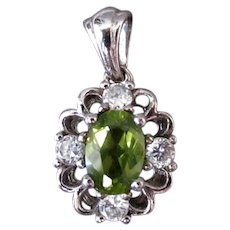 Vintage August Birthstone Pendant - Synthetic Peridot with Faux Diamonds in Sterling