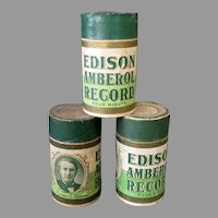 Three (3) Vintage Edison 4M Cylinder Phonograph Records – Four Minute Amberols