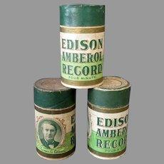 Three (3) Vintage Edison 4M Cylinder Phonograph Records – Four Minute Amberols
