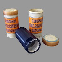 Two Vintage Edison Blue Amberol Cylinder Phonograph Records - 2 4M with Original Boxes