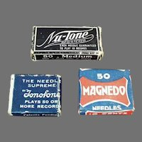 Assorted Vintage Steel Phonograph Needles Boxes - Three (3) Little Boxes