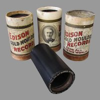 Three Vintage Edison 2 Minute Cylinder Phonograph Records with Old Boxes