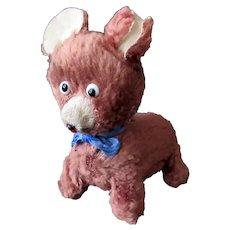 Vintage Wind Up Toy - Little Plush Walking Dog