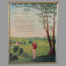 Vintage 1960's Motto Print with Poem for Father - Golfing Theme and Graphics
