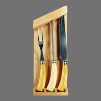 Vintage 3 Piece Catalin Handled Carving Set with Rack - Three Old Kitchen Utensils