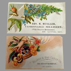 Two Vintage Advertising Trade Cards, Both from St. Louis Businesses