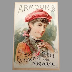 Vintage 1891 Trade Card -  Amour's Vigoral Extract Advertising