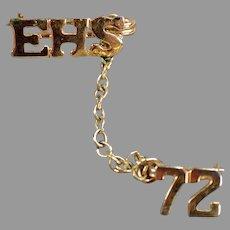 High School Class Pin - 1972 EHS - Estate Jewelry