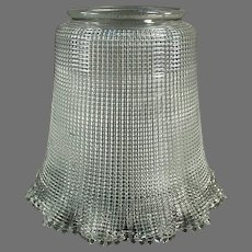 """Vintage Light Fixture Shade, Heavily Ribbed with Large 3 ¼"""" Neck"""