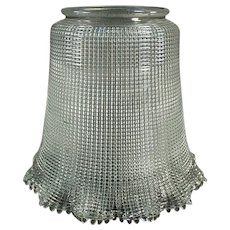 "Vintage Light Fixture Shade, Heavily Ribbed with Large 3 ¼"" Neck"