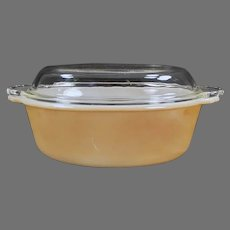 Vintage Anchor Hocking Fire King Copper Tint Casserole Dish with Lid - 1 1/2Qt