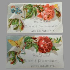 Two Antique Advertising Trade Cards - Dehnert Bakery and Confectionery