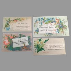Four  Antique Advertising Trade Cards - All from Businesses in Newburgh, New York