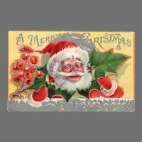 Colorful 1910 Vintage Christmas Postcard with Jolly Santa Claus and Christmas Holly