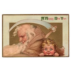 Vintage 1915 New Years Postcard Father Time and Child - Panama-Pacific Expo