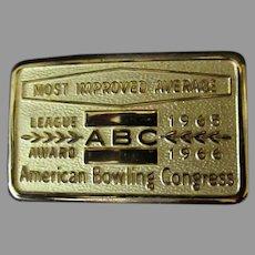 Vintage 1960's Bowling Award Belt Buckle – ABC Most Improved Average Bowling Award