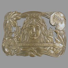 Vintage Buckle - Lillie Langtry The Jersey Lily Brass Belt Buckle