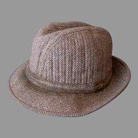 Vintage London Fog Brown Tweed Fedora Hat - 1960's