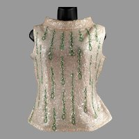 Ladies Vintage Beaded and Sequined Shell Top - 1960's Eloquent Evening Wear