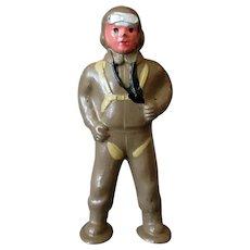 Vintage Slush Cast Toy Paratrooper Soldier - Barclay #941 Aviator - Original Condition
